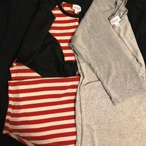 Lot 2 LulaRoe Tops Size S Colors Red Stripe & Gray